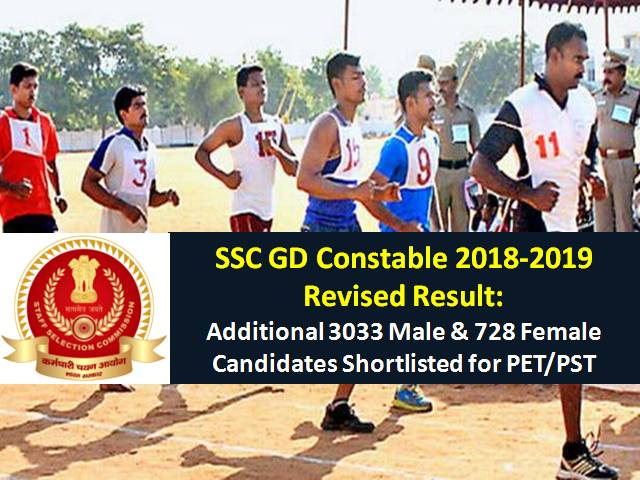SSC GD Constable 2018-2019 Revised Result