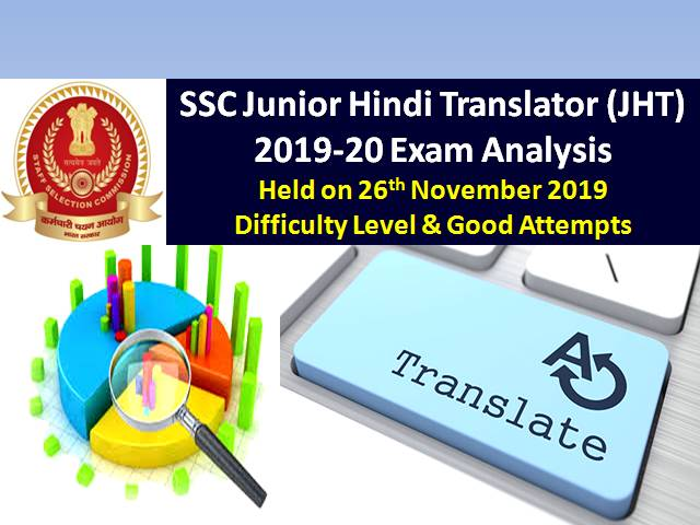 SSC Junior Hindi Translator (JHT) 2019-20 Exam Analysis: 26th Nov|Difficulty Level & Good Attempts
