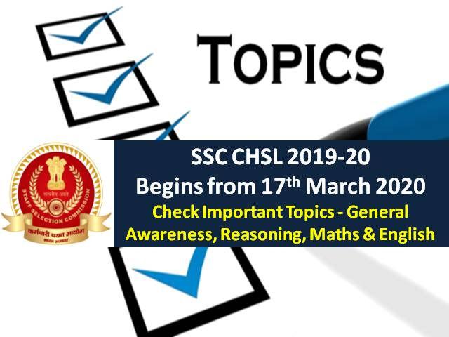SSC CHSL 2019-20 from 17 March 2020