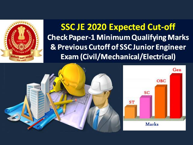SSC JE 2020 Expected Cut off Marks (Paper-1): Check Minimum Qualifying Marks & Previous Cutoff of SSC Junior Engineer Exam (Civil/Mechanical/ Electrical)