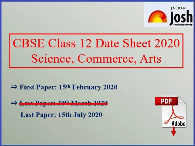 CBSE 12th Exam Date Sheet 2019 for CBSE 12th Board Exams 2020
