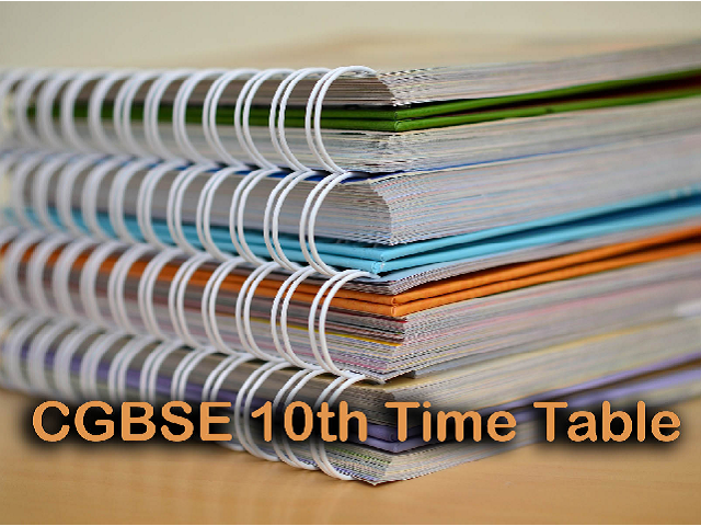 CGBSE 10th exam time table