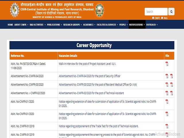 CSIR -CIMFR Project Assistant Level-1 Posts 2020