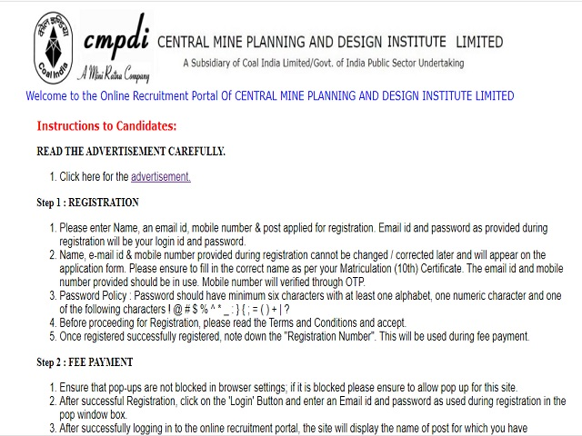 Central Mine Planning & Design Institute Limited (CMPDI) Assistant Driller/Jr. Scientific Assistant Posts 2020