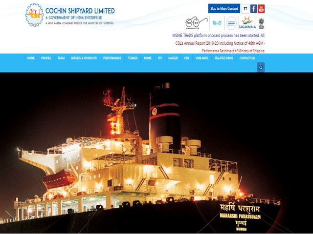 Cochin Shipyard Limited Recruitment 2020