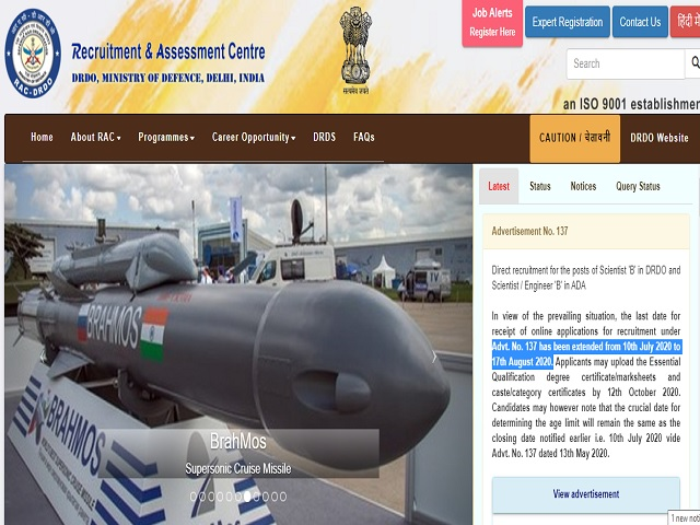 DRDO RAC Scientist Posts 2020