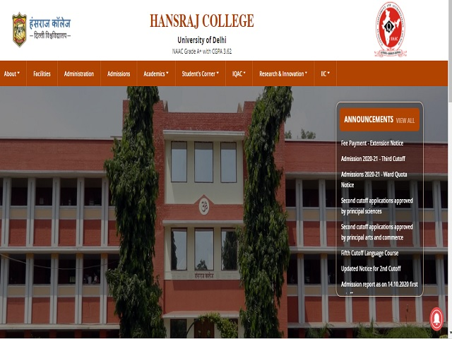 Hansraj College  MTS, Laboratory Assistant, Care Taker and Other Posts 2020