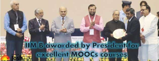 IIM B awarded by President for excellent MOOCs courses