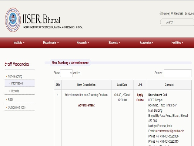 IISER Bhopal Recruitment 2020