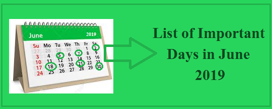 Important Days in June 2019| National and International