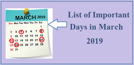 Calendrier Vaccinal 2020 Has.Important Days In March 2019 National International Days