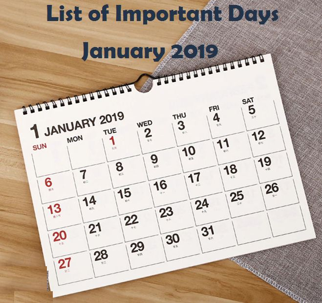 list of important days of january 2019