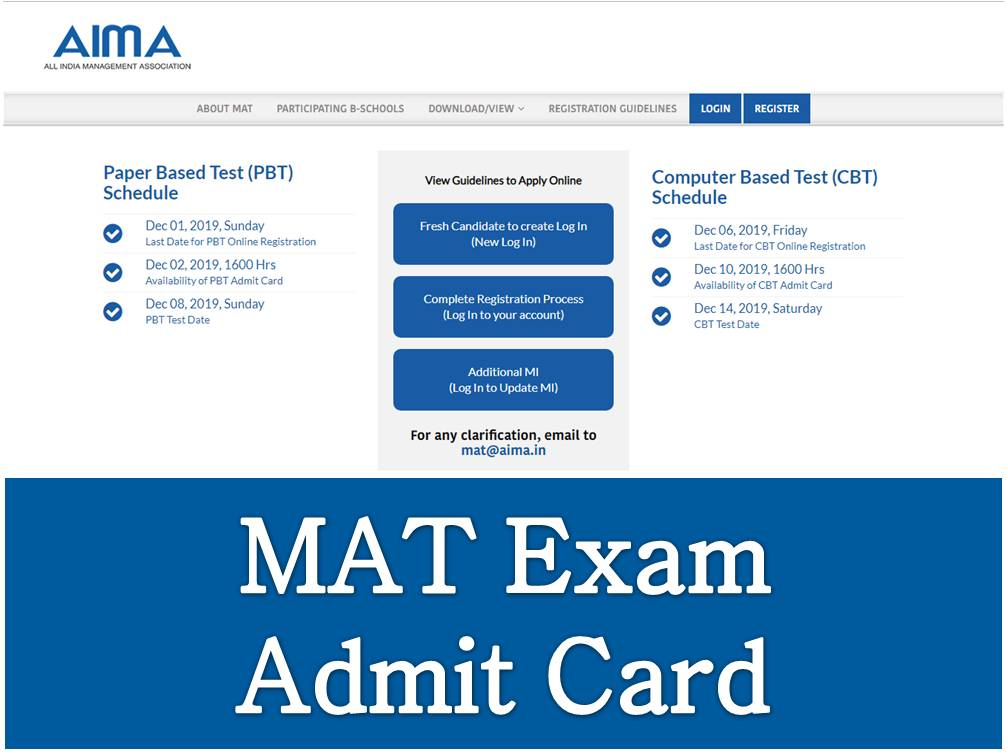 MAT 2020 Admit Card Schedule Announced - Direct link to Download MAT Hall  Ticket Available