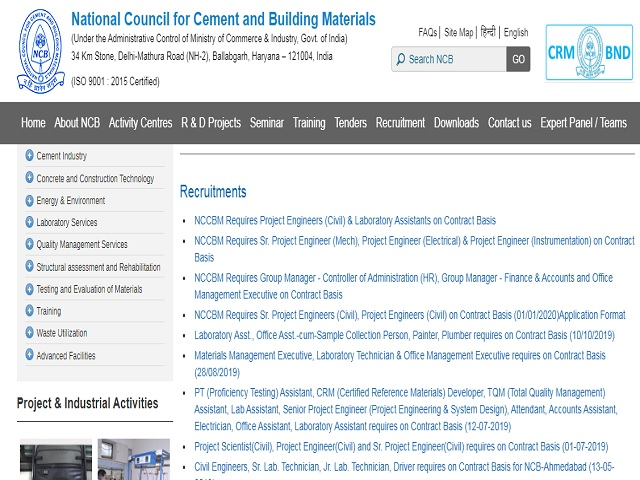 National Council for Cement and Building Materials Executive & Technician Posts 2019 Functional: Other