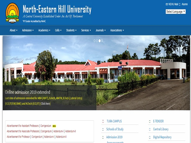 North-Eastern Hill University (NEHU) Recruitment 2020 for 09 Section Officer and Assistant Posts