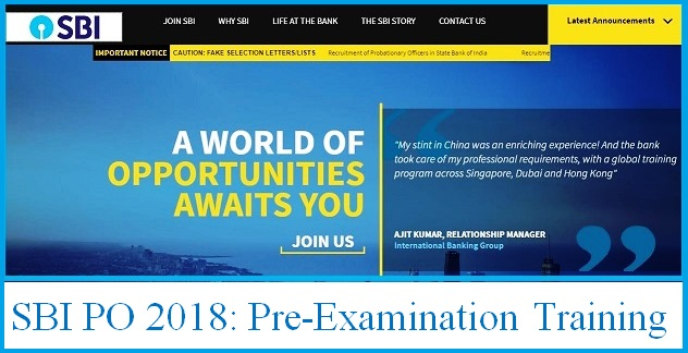 SBI PO Recruitment 2018: Pre-Exam Training Admit Card