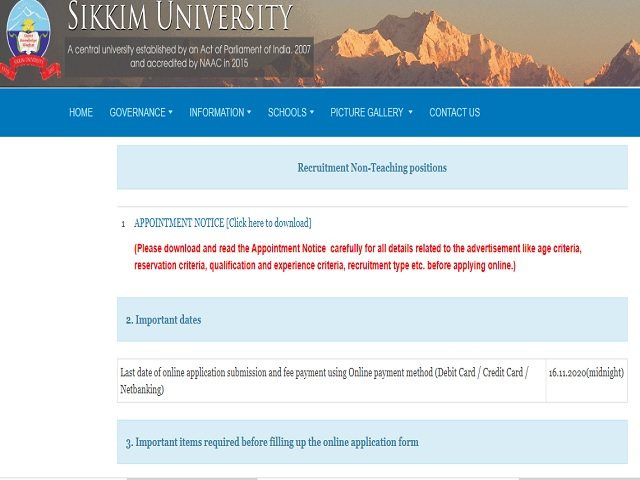 Sikkim University Online for Finance Officer, Controller, Librarian, Dy Librarian, LDC & Lab Attendant Posts 2020
