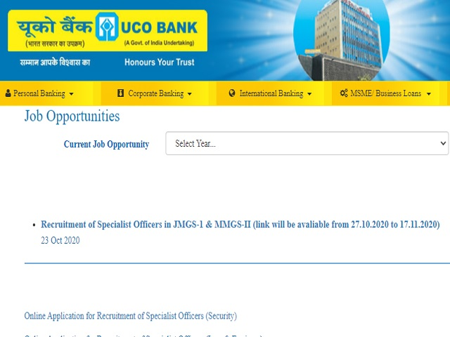 UCO Bank Online for Security Officer, CA and Other Posts 2020