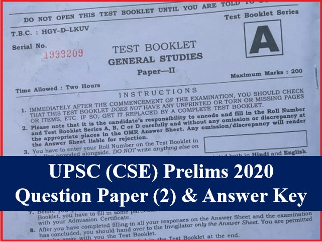 Upsc Ias Prelims 2020 Csat Paper 2 Answer Key Question Paper Pdf With Exam Analysis Download Pdf