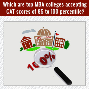 Which are top MBA colleges accepting CAT scores of 85 to 100 percentile?