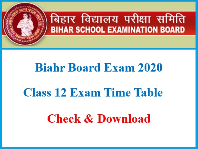 Bihar Board Class 12 Exam Time Table 2020: Check BSEB 12th Routine 2020  @biharboardonline.bihar.gov.in