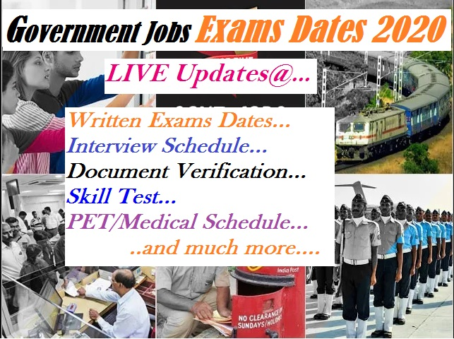 govt jobs exams date live update 2020