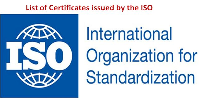 List of ISO certificates