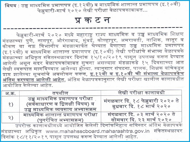 Mp board 12th 2019 time table