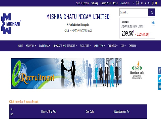 MIDHANI Recruitment 2020