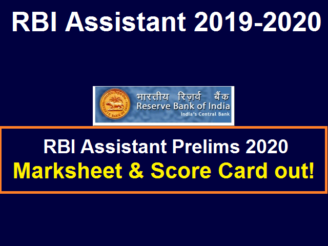 RBI Assistant Marksheet 2020