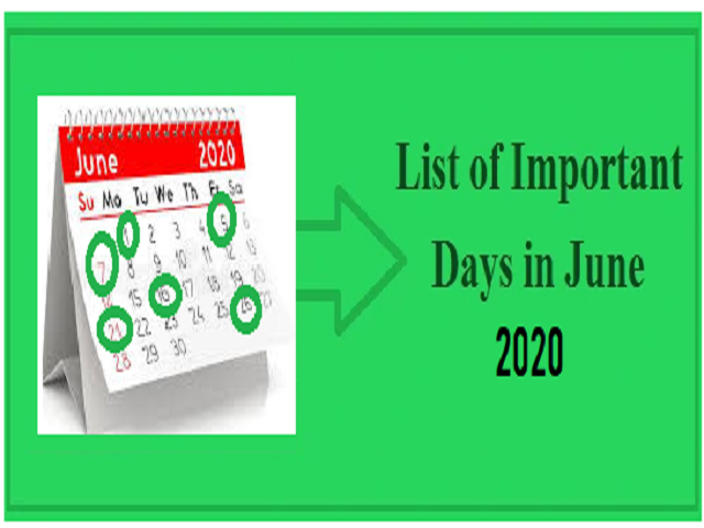 Important Days in June 2020| National and International