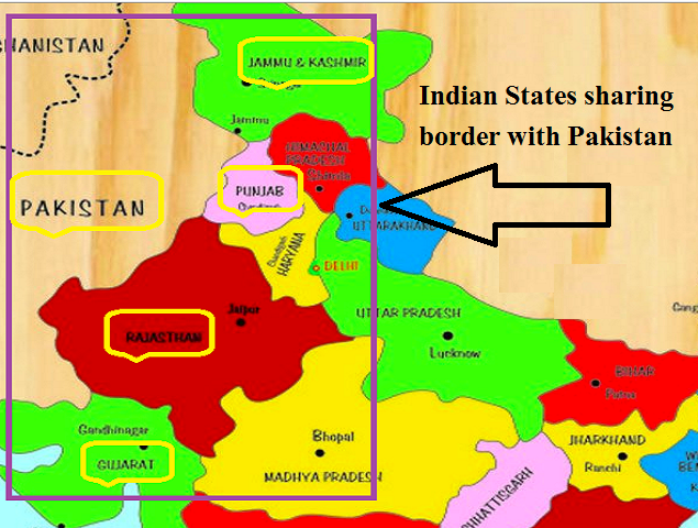 Which States of India share boundaries with stan? on map of india provinces, india and its states, india fertility rate by state, central british india provinces,