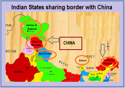 Which Indian states share boundaries with China? on australia border map, russia border map, india border changes, spain border map, france border map, pakistan border map, western chinese border map, india china boundary map,