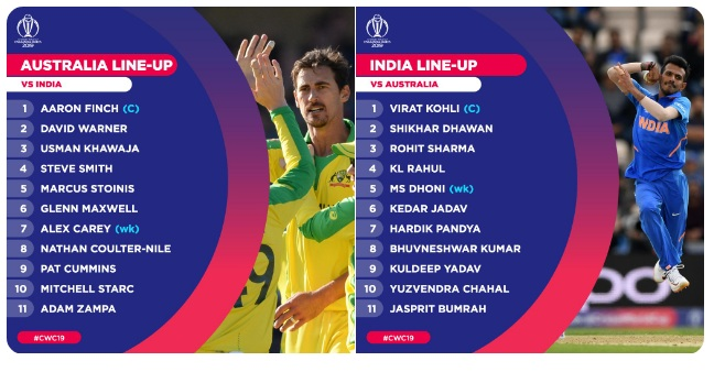 India Vs Australia Cricket World Cup 2019 India Australia S Playing Xi Unchanged Key Player Face Offs Rohit Sharma Mitchell Starc